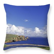 Scotland Shetland Islands Eshaness Cliffs Throw Pillow by Anonymous