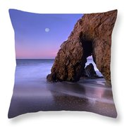 Sea Arch And Full Moon Over El Matador Throw Pillow by Tim Fitzharris