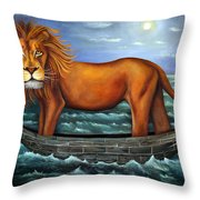 Sea Lion Bolder Image Throw Pillow by Leah Saulnier The Painting Maniac