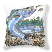 Sea Trout Throw Pillow by Carey Chen