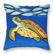 Sea Turtle Throw Pillow by Adam Johnson