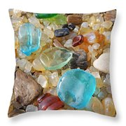 Seaglass Art Prints Agates Petrified Wood Throw Pillow by Baslee Troutman
