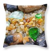 Seaglass Art Prints Coastal Beach Sea Glass Throw Pillow by Baslee Troutman