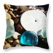 Seaglass Art Prints Rock Garden Sand Dollar Throw Pillow by Baslee Troutman