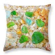 Seaglass Green Art Prints Agates Beach Garden Throw Pillow by Baslee Troutman
