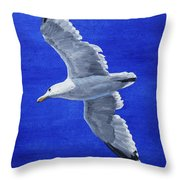 Seagull In Flight Throw Pillow by Crista Forest