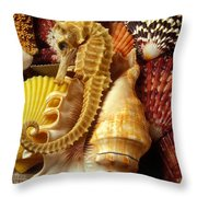 Seahorse Among Sea Shells Throw Pillow by Garry Gay