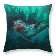 Seal Throw Pillow by Kathleen Kelly Thompson