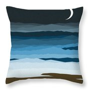 Seascape - Night Throw Pillow by Val Arie
