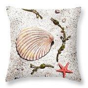 Seashell Sea Star And Pearls On The Beach Throw Pillow by Irina Sztukowski