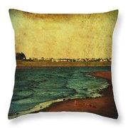 Seaside Beach Photograph Coastal Decor Throw Pillow by Laura  Carter