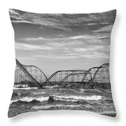 Seaside Heights - Jet Star Roller Coaster Throw Pillow by Niday Picture Library