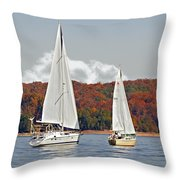 Seasonal Sailing Throw Pillow by Susan Leggett
