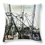 Seasoned Fishing Boat Throw Pillow by Debra Forand