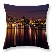 Seattle Night Reflections Throw Pillow by Mary Jo Allen