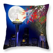 Seattle Skyline Throw Pillow by Methune Hively