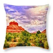Sedona Arizona Bell Rock Vortex Throw Pillow by  Bob and Nadine Johnston