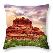 Sedona Bell Rock Vortex In Spring Throw Pillow by Bob and Nadine Johnston
