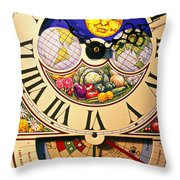 Seed Planting Clock Throw Pillow by Garry Gay