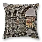 Segovia Aqueduct - Spain Throw Pillow by Juergen Weiss