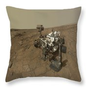 Self-portrait Of Curiosity Rover Throw Pillow by Stocktrek Images