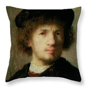 Self Portrait Throw Pillow by Rembrandt Harmenszoon van Rijn