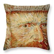 Self-portrait With Hat Throw Pillow by Vincent van Gogh