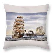 Semi-ah-moo Lighthouse Throw Pillow by James Williamson