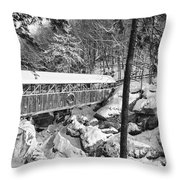 Sentinel Pine Covered Bridge - Franconia Notch State Park New Hampshire USA Throw Pillow by Erin Paul Donovan
