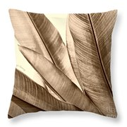 Sepia Leaves Throw Pillow by Cheryl Young