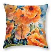 September Orange Poppies            Throw Pillow by Kathy Braud