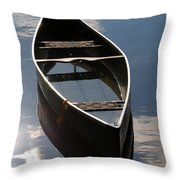 Serene Canoe with Sky Throw Pillow by Renee Forth-Fukumoto