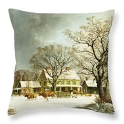 Seven Miles To Salem Throw Pillow by George Henry Durrie