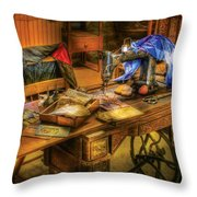 Sewing Machine  - Sewing Machine Iv Throw Pillow by Mike Savad