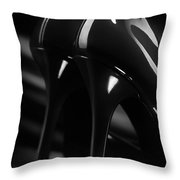 Sexy Black High Heel Shoes Closeup Throw Pillow by Oleksiy Maksymenko