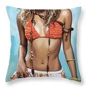 Shakira Artwork Throw Pillow by Sheraz A