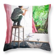Shaping The Peace Listen With Music Of The Description Box Throw Pillow by Lazaro Hurtado