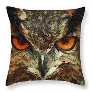 Sharpie Owl Throw Pillow by Ayse Deniz