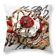 She Dreams In Chocolate And Strawberries Throw Pillow by Andee Design