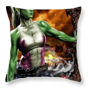 She-hulk Throw Pillow by Pete Tapang