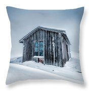 Shed In The Blizzard Throw Pillow by Evgeni Dinev