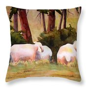 Sheep In The Meadow Throw Pillow by Blenda Studio