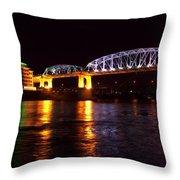 Shelby Street Bridge At Night Throw Pillow by Dan Sproul