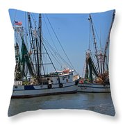 Shem Creek Shrimpers Throw Pillow by Suzanne Gaff