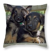 Shepherd Pups 2 Throw Pillow by Aimee L Maher Photography and Art