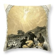 Shepherds And Angel Throw Pillow by Miles Birkett Foster