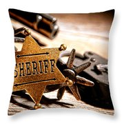 Sheriff Tools Throw Pillow by Olivier Le Queinec