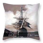 Ship In Sepia Throw Pillow by Janet King