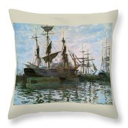 Ships In Harbor Throw Pillow by Claude Monet - L Brown