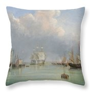 Ships Off Ryde Throw Pillow by Arthur Wellington Fowles